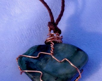 Emerald, crystal, copper wire wrapped, bamboo cord