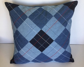 Denim patchwork with decorative stitches pillow