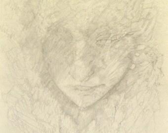 Original Fine Art Pencil Drawing of a Sleeping Fantasy Creature Girl Grey Delicate tones