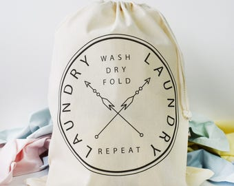 Home And Travel Laundry Bag, Wash Dry Fold Repeat, Drawcord Cotton Bag, Storage Bag, 100% Cotton