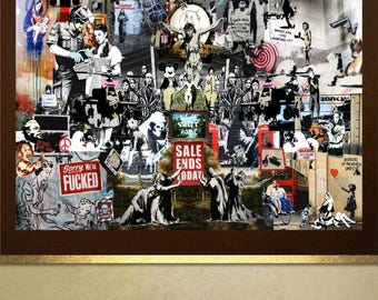 Banksy collage of works tribute poster print Wall Art in 4 sizes