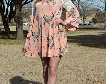 Pastel Peach Cow Head Serape Lace Shoulder With Keyhole Neckline