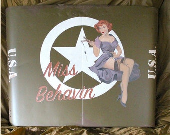 Willys Jeep Hood handpainted with nose art 'Miss Behavin'