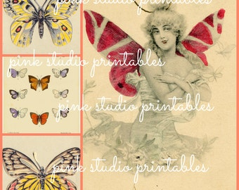 French Butterfly Collage 02,  Printable Collage Sheet (digital download, printable)
