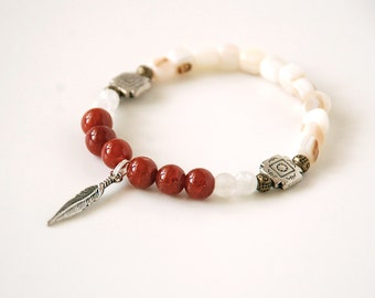 Feather Charm Red Agate Bracelet