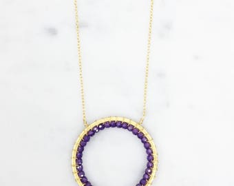 Amethyst Circle Necklace | Gold Circle Necklace | Pendant Necklace | Gold Pendant | Delicate Necklace | Infinity Necklace | Gift for Her