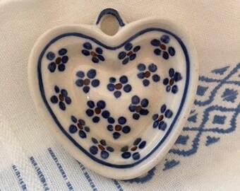 Polish Pottery Heart Ornament Mini Bowl