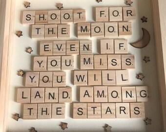 Shoot for the Moon Scrabble Tile Frame
