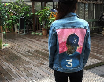 Hand Painted Denim Jacket - Women's Painted Chance the Rapper Portrait