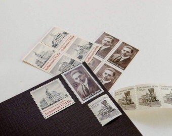 Black and White -- Unused Vintage Stamps -- Postage Set of 5