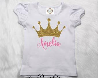 Custom Princess Shirt, Toddler Princess T-Shirt, Crown Shirt, Name Shirt, Glitter Tiara Shirt, Monogrammed Girls Ruffle Tee, Pink & Gold P3