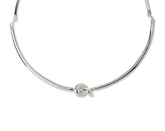 Shiny Silver Twist Necklace