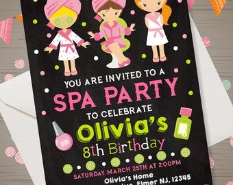 SPA PARTY Invitation Spa Invitation SPA Party Birthday Invitation Chalkboard Invitation Spa Party Invite Spa Birthday Party Printables