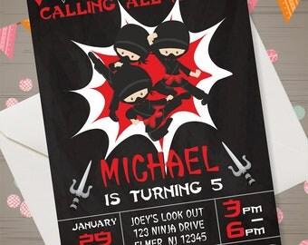 NINJA INVITATION Ninja Birthday Invitation Ninja Birthday Party Ninja Party Boys Birthday Invitations Ninja Chalkboard Invite Printables