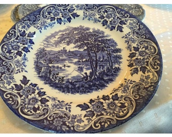 Broadhurst Ironstone Collectprs Plate. English Scene Plate. Collectible plate. Blue and white plates.