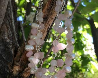 Rose Quartz & Fresh Water Pearl Sterling Bracelet And Earrings Set