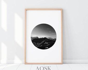 Mountain Printable Wall Art, Affiche Scandinave, Mountain Print Art, Minimalist Posters, Mountain Wall Art, Black and White Monuntain Scandi
