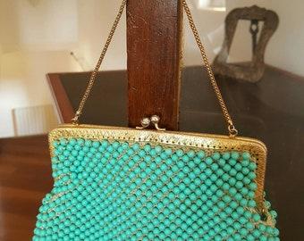 Years 50 's-60 's blue beaded handbag