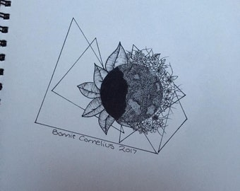 Moon blackwork design