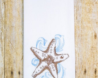 Baroque Starfish Hand Towel, Embroidered