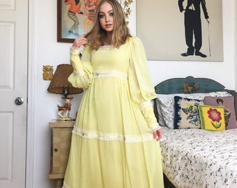 70's Yellow Long Sleeve Maxi Dress