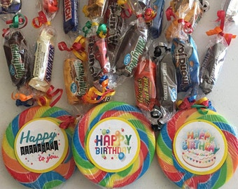 Happy Birthday Mixed Candy Bar Lei with Lollipop Medallion