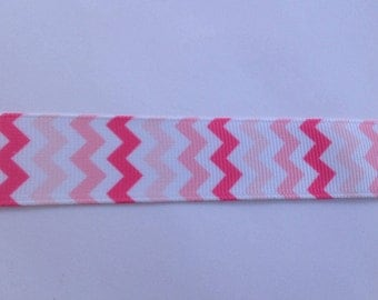 "7/8""  Chevron Pink inspired Grosgrain Ribbon  -  By The Yard"