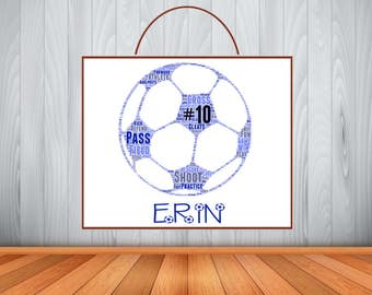 Personalized Soccer Sign, Soccer Door Sign, Custom Soccer Name Sign, Soccer Room Decor, Soccer Word Art