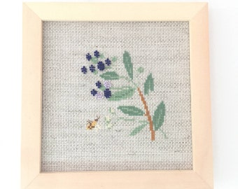 Blueberry cross stitch kit, beads cross stitch, floral cross stitch, tree cross stitch