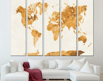 Golden Watercolor World Map Print /Abstract World Map Print/ 1,2,3,4 or 5 Panels Print on Canvas for Wall Art framed and ready to hang