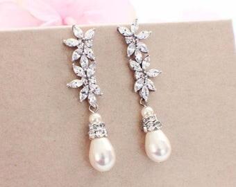 Bridal jewelry, wedding earrings, swarovski pearl, drop earrings, wedding jewelry, bridesmaid earrings, CZ earrings, bridal accessories