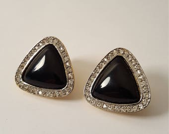 Vintage (c. 1980's) Kenneth J Lane Simulated Onyx & Crystal Triangle Clip on Earrings