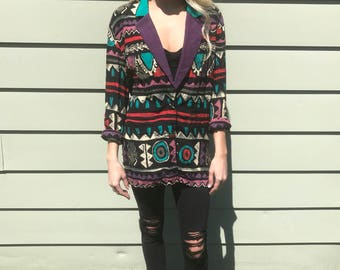 Vintage 80s 90s Slouchy Colorful Blazer by Carole Little