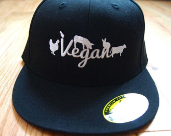 Proudly Vegan Flexfit cap black and silver