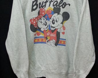 Vintage Mickey Mini Mouse Buffalo//Sweatshirt Size L//Made In USA//Raglan