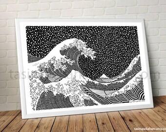 The Great Wave. Kanagawa. A3 Print. Art. Famous Painting. Katsushika Hokusai. Japan. Classic Art. Dots. Black and white. © FREE SHIPPING