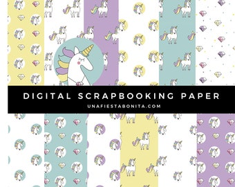 Unicorns Digital Scrapbooking Paper Set