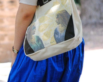 2 in 1 bag, backpack convertible handbag, illustrated by a Moroccan artist, leather and fabric