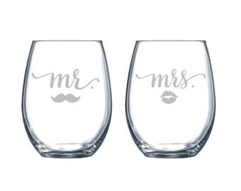 One Pair Mr and Mrs with Lips and Mustache Laser Etched Stemless Wine Glass - Perfect Wedding Glasses - 15oz