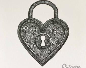 Original hand drawn, ink print illustration of a beautifully detailed Heart Locket. Framed