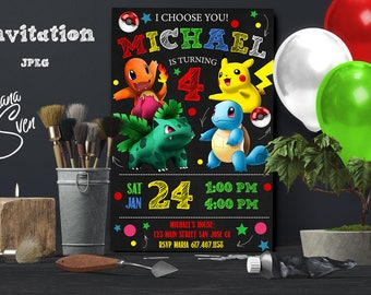 Pokemon Invitation, Pokemon Party, Pokemon Birthday Invitation, Girl Pokemon Invitation, Boy Pokemon Invitation, Pokemon GO Theme Printables