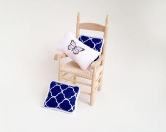 1:12 Miniature Dollhouse Butterfly and Moroccan Blue Pillow Set