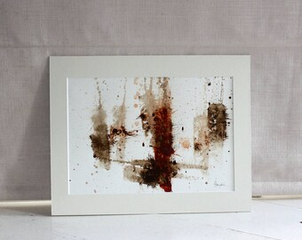 Window-mounted, contemporary abstract Acrylic Painting in earth-colours, on 300gsm Watercolour Paper, ready-to-frame