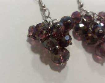 Silvery Grape Earrings