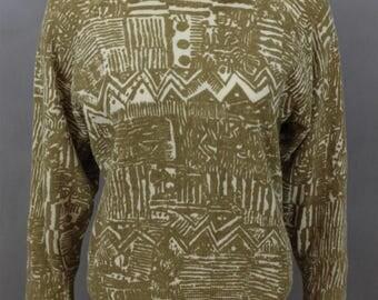 Vintage Geometric Sweaters - Soft Sweater - Pattern Sweaters - Hipster Sweater - Vintage 80s Sweater - Yellow Sweater - Bronze Sweater