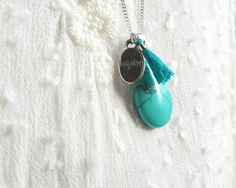 Silver Charm's inspired, blue tassel necklace and Turquoise - Collection Bohemia