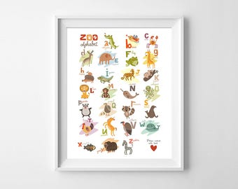 Zoo Alphabet Wall Art, Alphabet Animals Printable, Alphabet Nursery Poster, Alphabet ABC poster, Nursery Decor Digital, Nursery Animal Decor