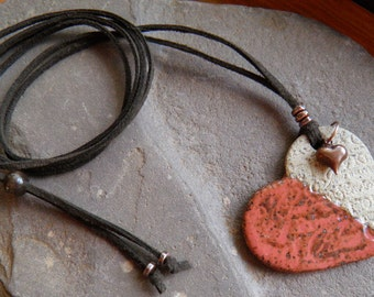 Ceramic Heart Necklace,Natural, Rustic Red,Boho, Brown Suede,Leather Cord,Copper Heart Charm,Adjustable