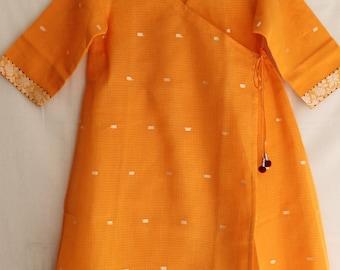 Orange Wrap around Knee length Kurta In Kota Doriya.