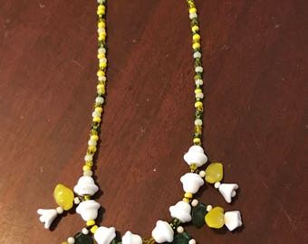 Green, Yellow, and White Spring or Summer Necklace